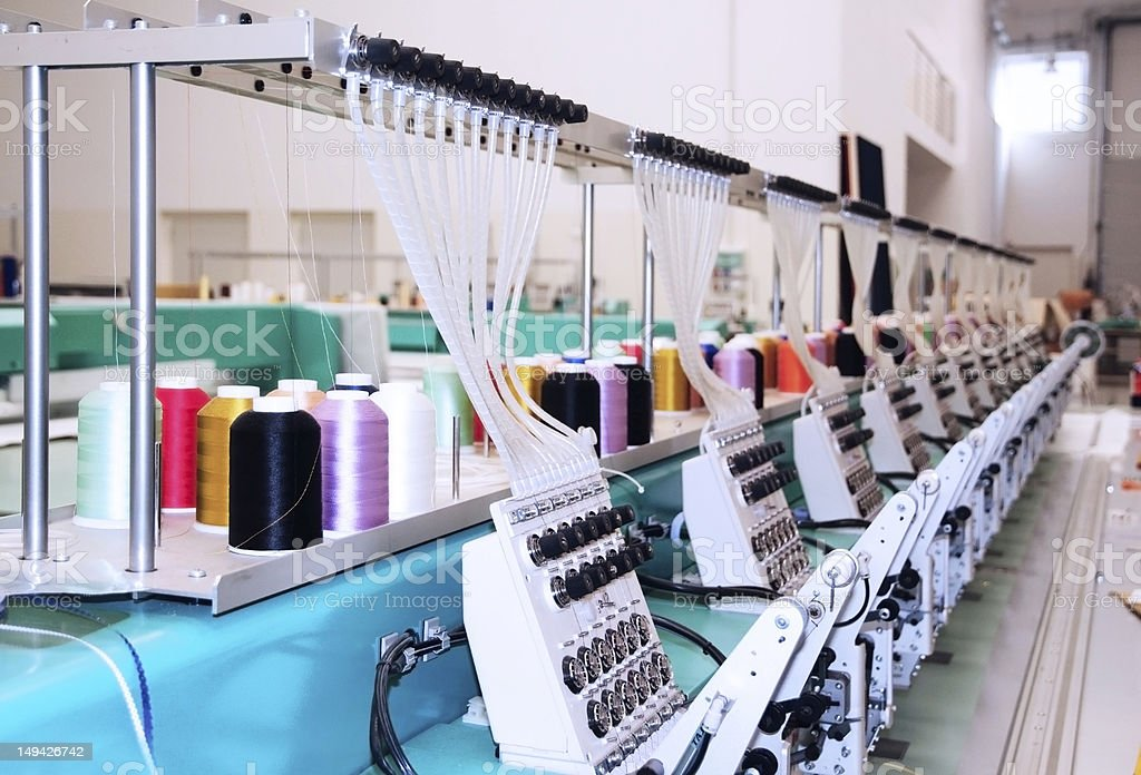 Textile: Industrial Embroidery Machine royalty-free stock photo