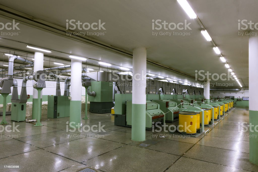 Textile Industry - Cotton Sorter and Cleaner of XXXL stock photo