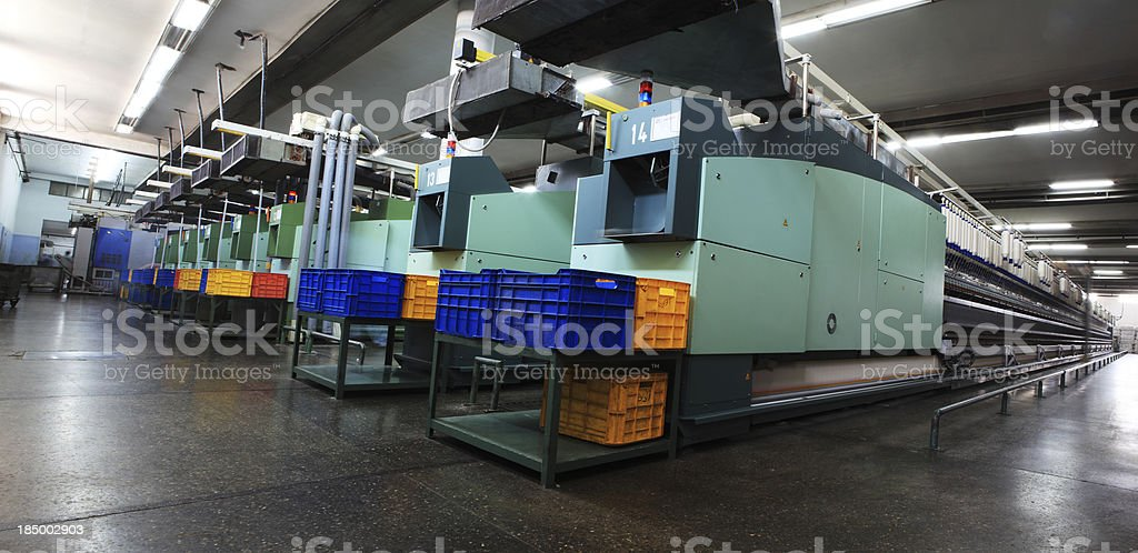 Textile Industry Panorama - Spinning, Autoconner Yarn Production royalty-free stock photo