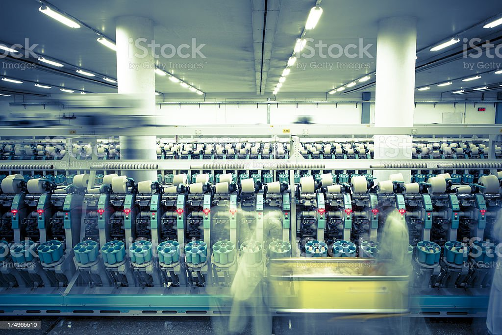 Textile Industry - Spinning, Auto Conner Yarn Production stock photo
