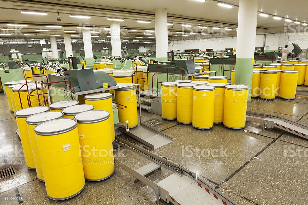 Textile Industry - Spinning Cotton into Yarn XXXL royalty-free stock photo