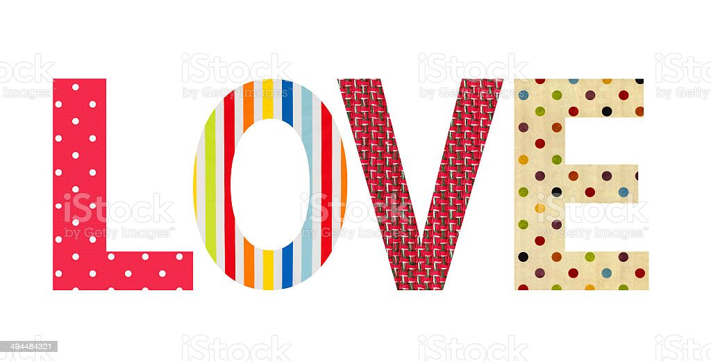 Textile letter love isolated on white stock photo
