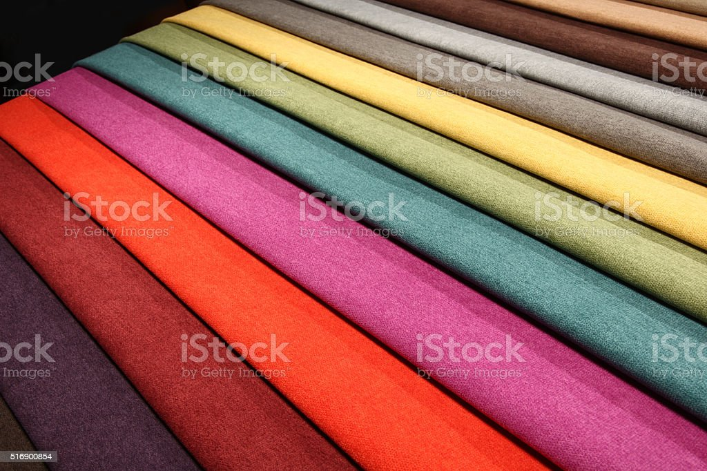 Textile materials variety shades of colors stock photo