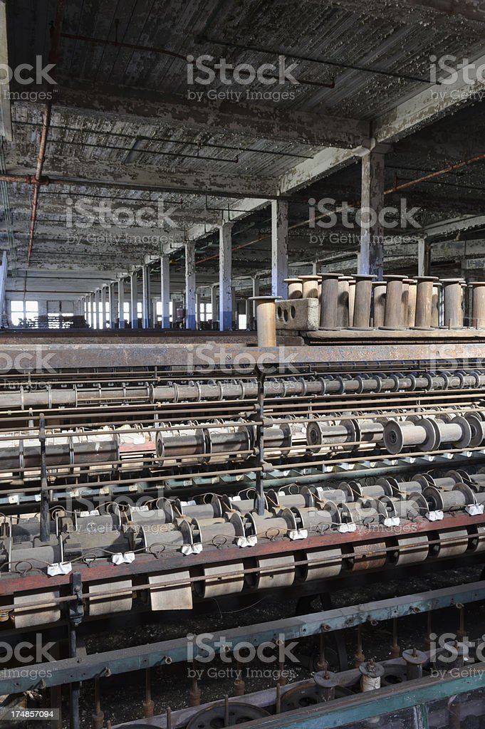 Textile Mill Cloth Weaving Machinery, Closed and Abandoned Factory royalty-free stock photo