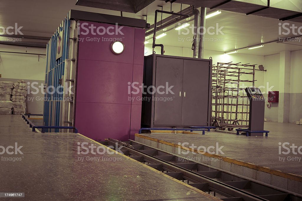 Textile Mill - Cotton Yarn Cones in Steam Autoclaves royalty-free stock photo