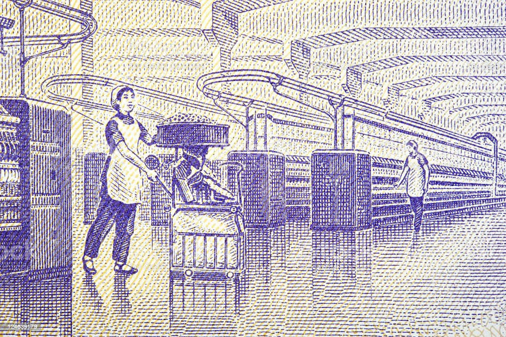 Textile Mill on Chinese Banknote stock photo