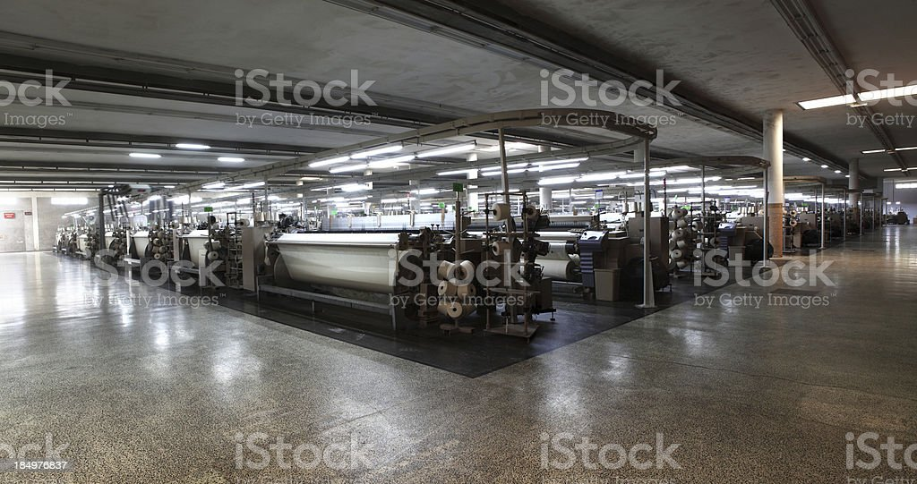 Textile Panorama - Big Weaving Room, Cotton Fabric Airjet Looms stock photo