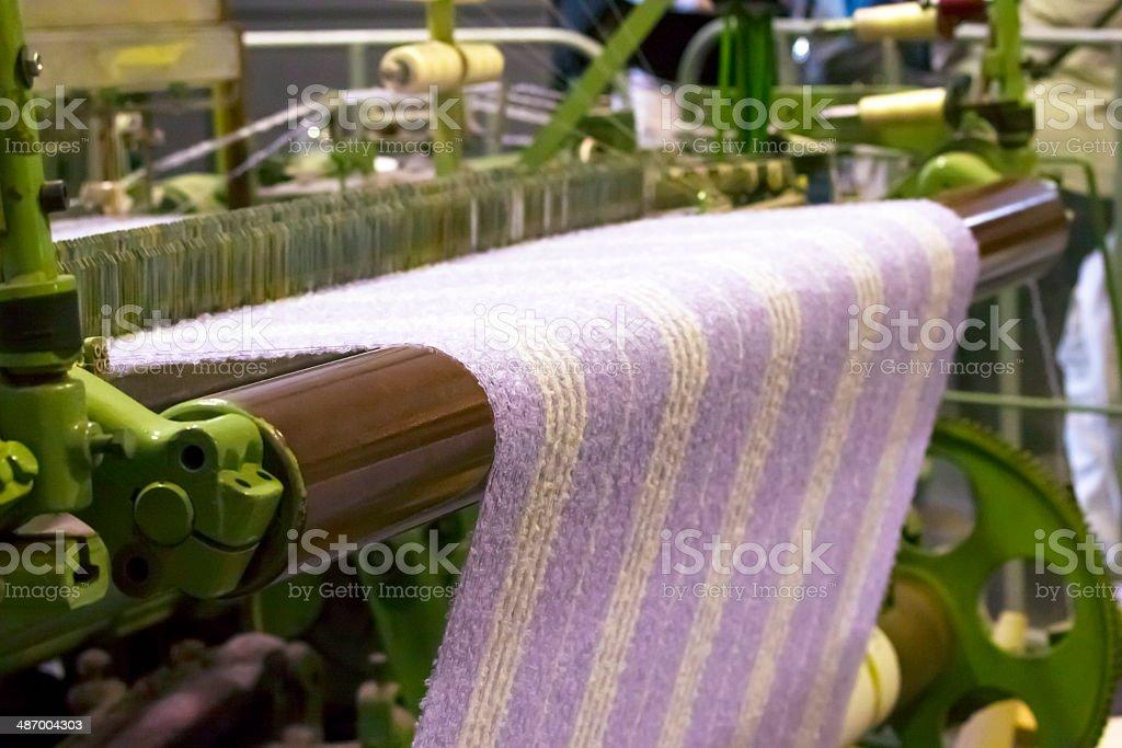 Textile Production - Weaving Alpaca wool Fabric stock photo