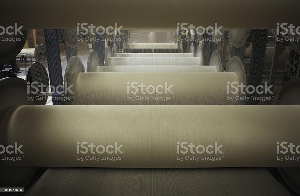 Textile Production - Weaving, Sizing Machine stock photo
