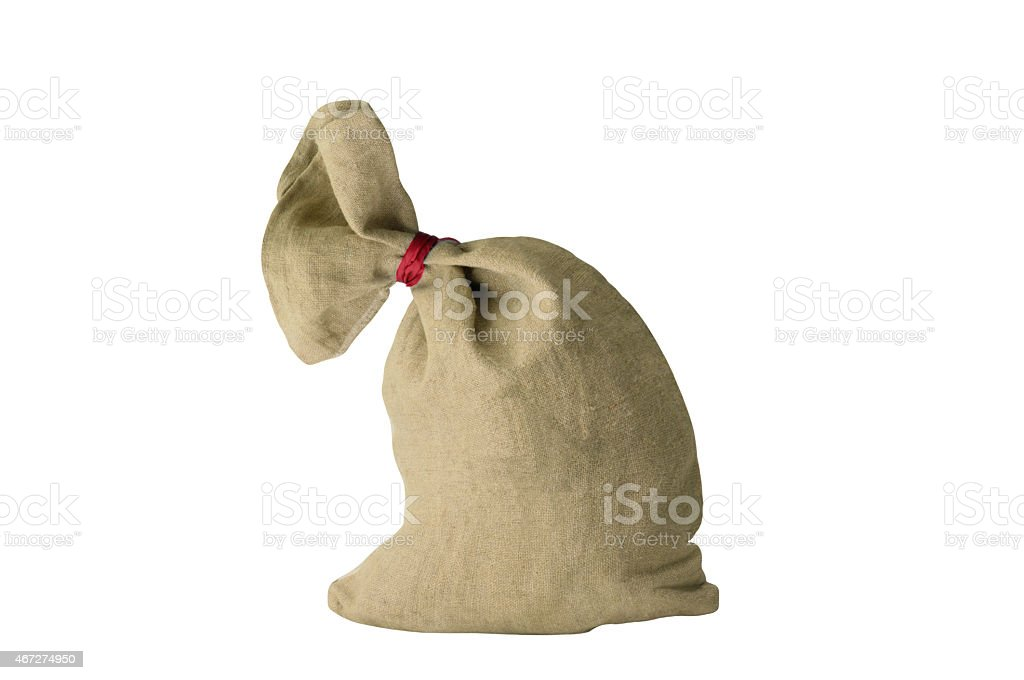 textile sachet pouch - knotted and filled stock photo