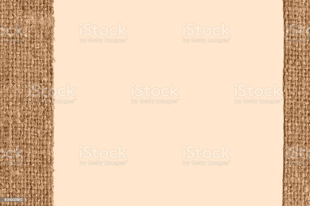 Textile sack, fabric burlap, fawn canvas, grunge material, swatch background stock photo
