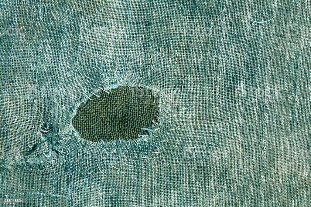 Textile sack texture with patch. stock photo