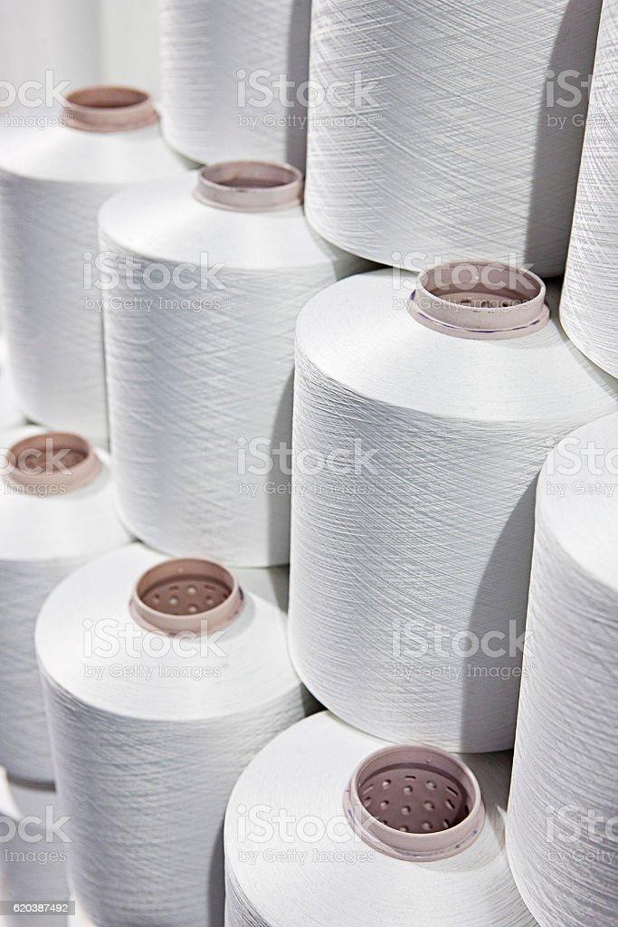 Textile thread spools stock photo