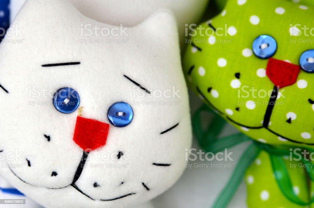 Textile toy cats stock photo
