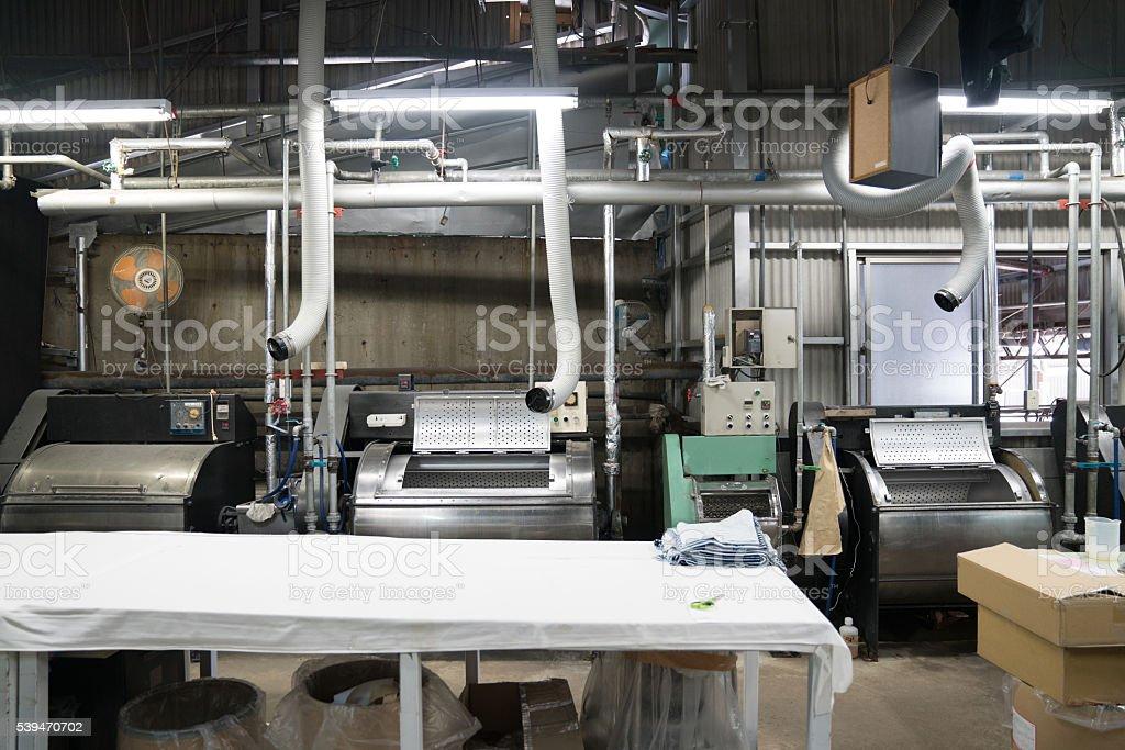 Textile washing and shipping facility stock photo