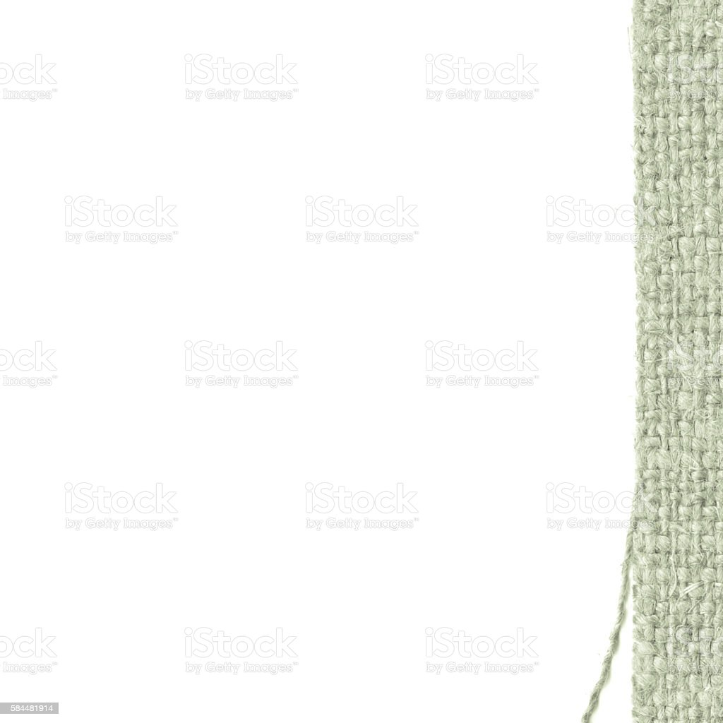 Textile weft, fabric space, green canvas, parchment material, house background stock photo