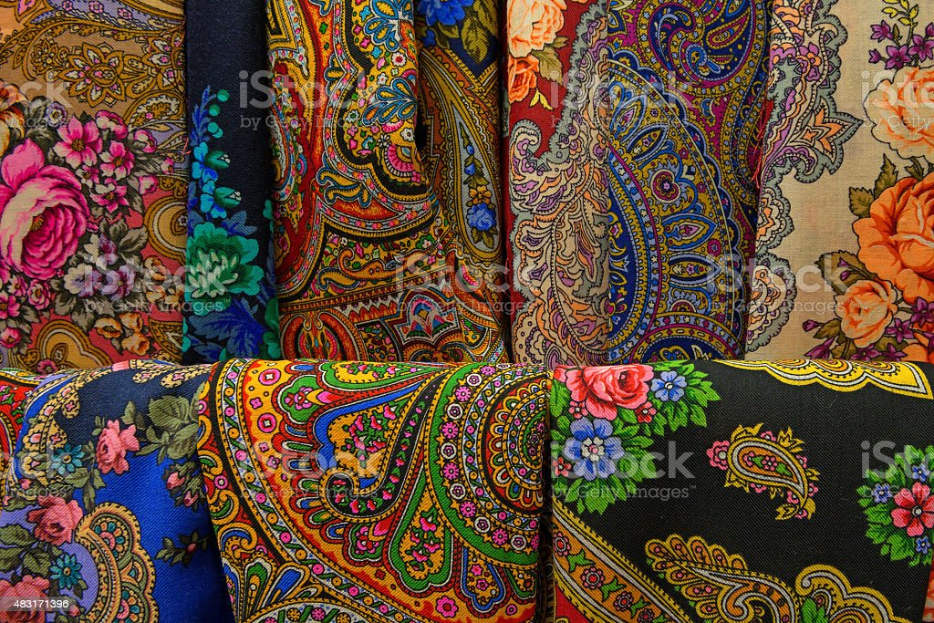 Textile with ethnic patterns stock photo