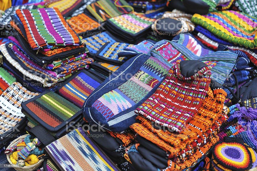 Textiles from Guatemalan market royalty-free stock photo