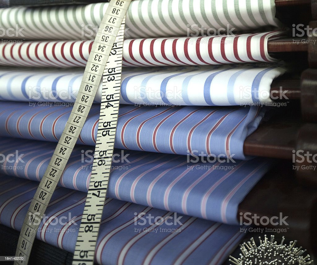 textiles in a tailor shop stock photo