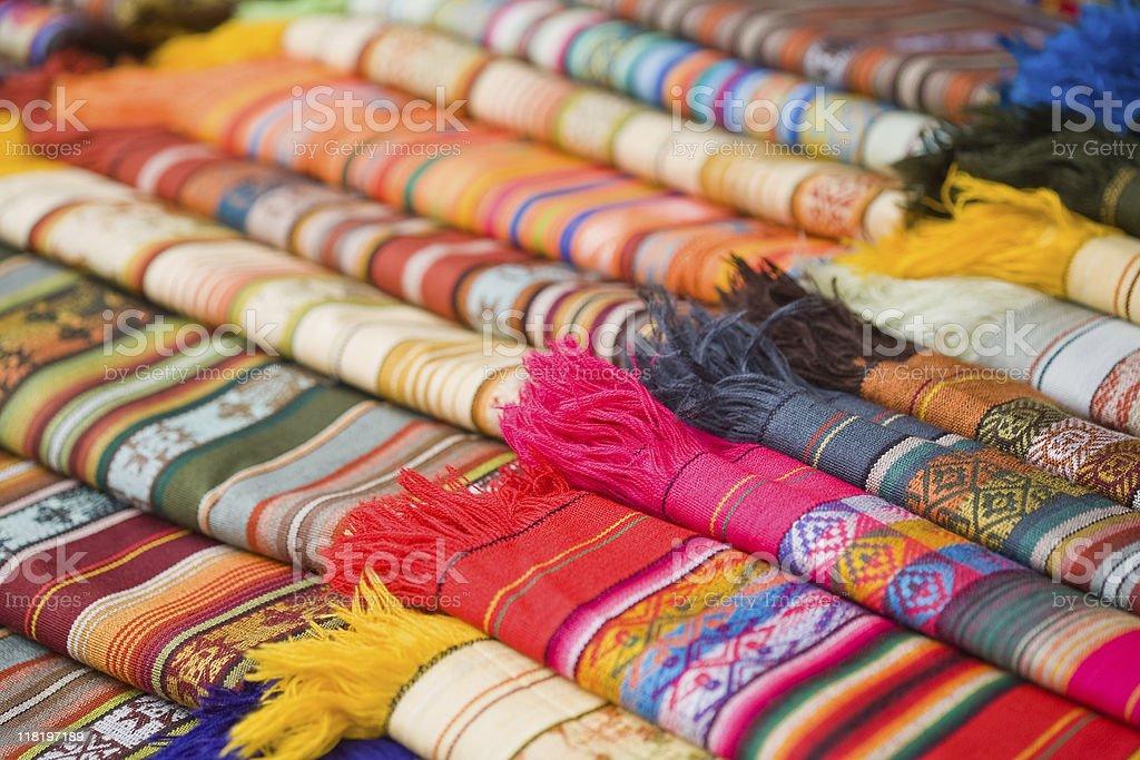 Textiles In The Otavalo, Ecuador Market stock photo