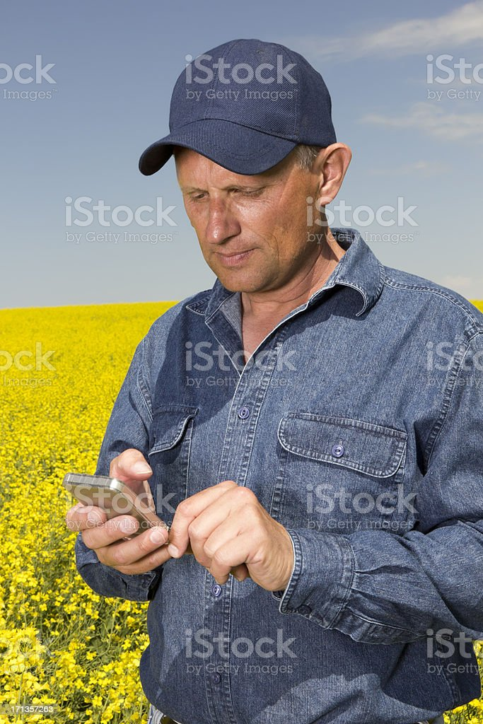 Texting Farmer royalty-free stock photo