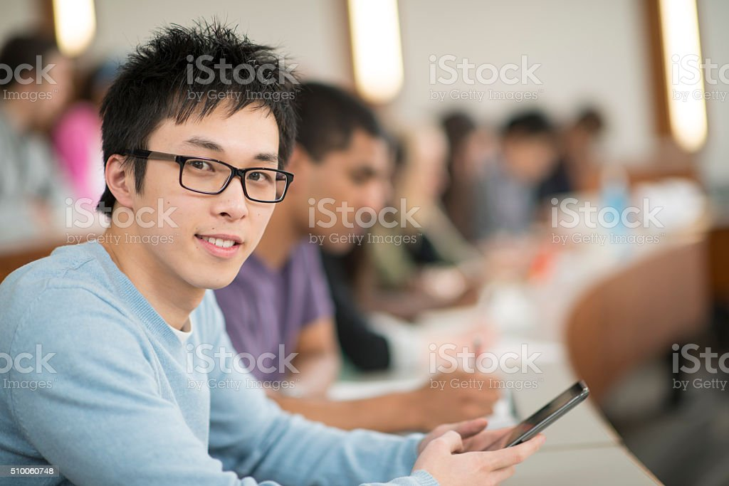 Texting in Class stock photo