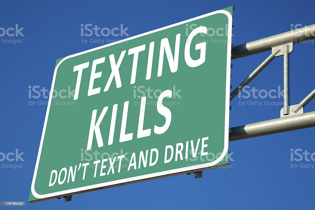 Texting Kills Highway Sign stock photo