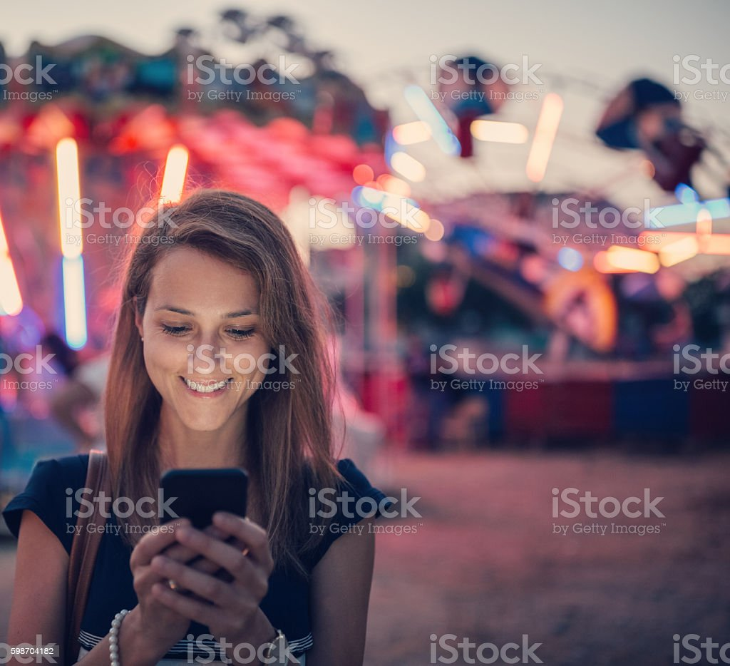 Texting my friends stock photo
