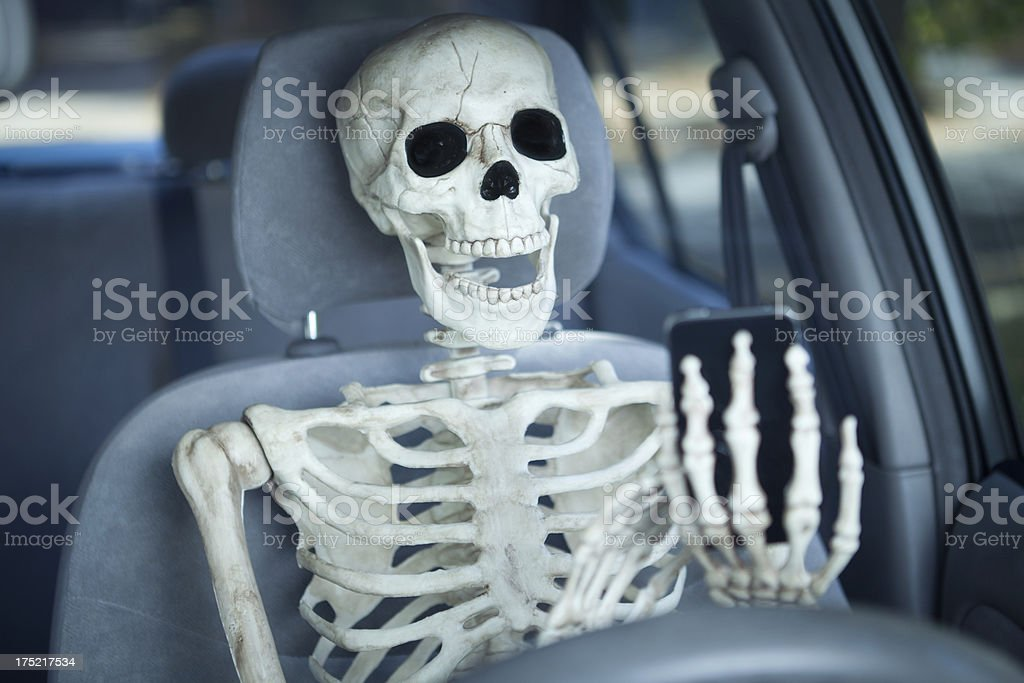 Texting While Driving in Car is Death on Wheels Hz stock photo