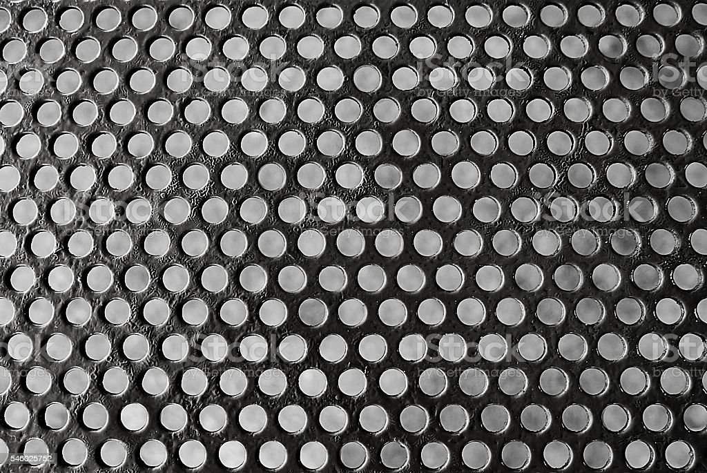 Texture Background of Matalic Gray Perforated Grid stock photo