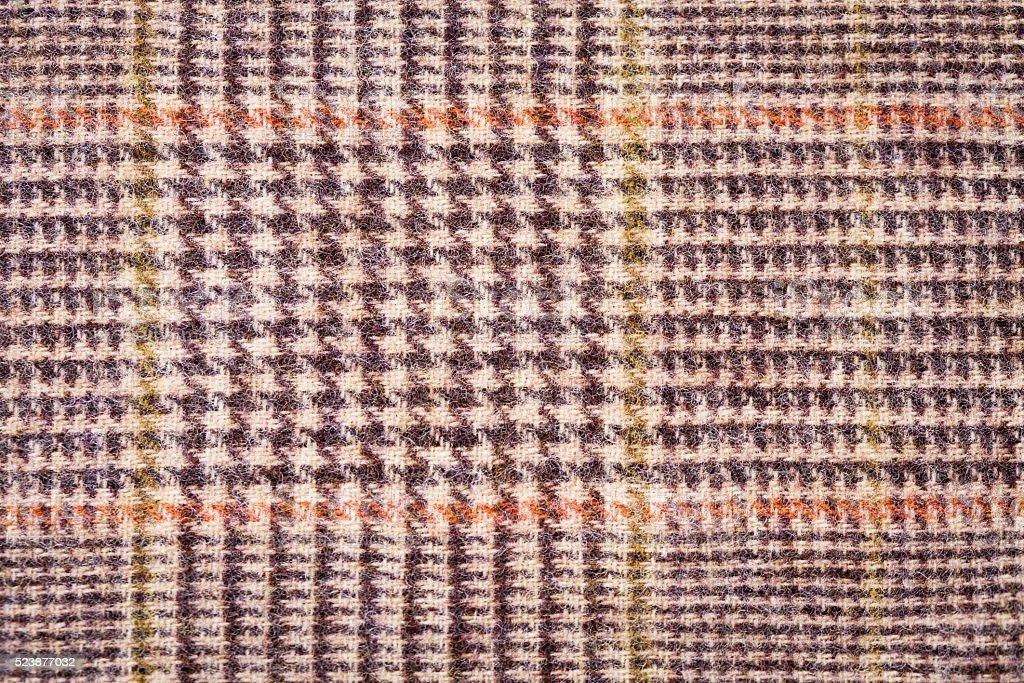 Texture brown plaid wool fabric closeup stock photo