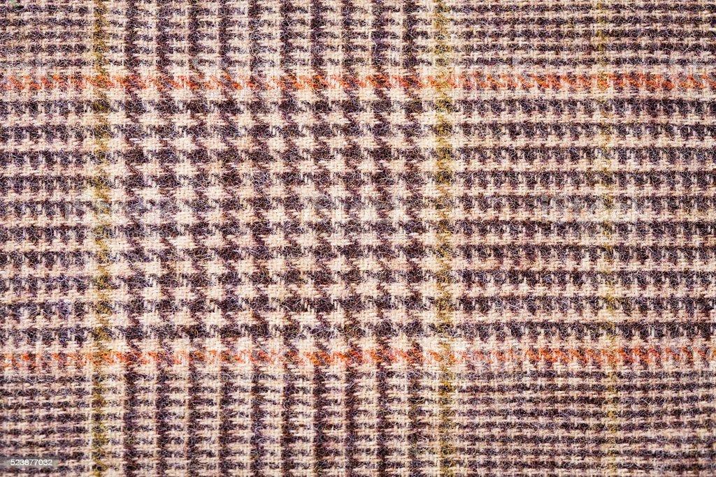 Texture brown plaid wool fabric closeup stock photo