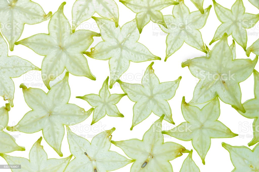 Texture design with star fruit. stock photo