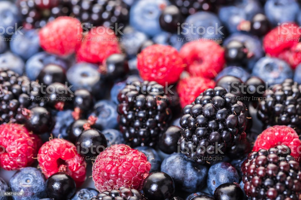 texture of assorted fresh berries stock photo