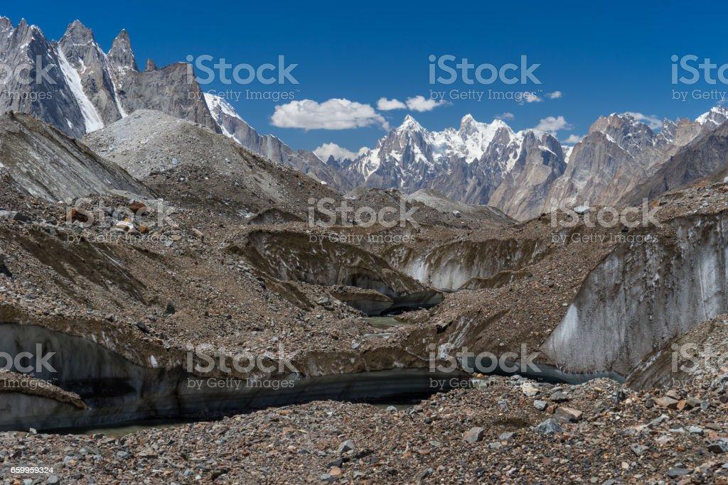 Texture of Baltoro glacier in front of Paiju peak, K2 trek, Pakistan stock photo