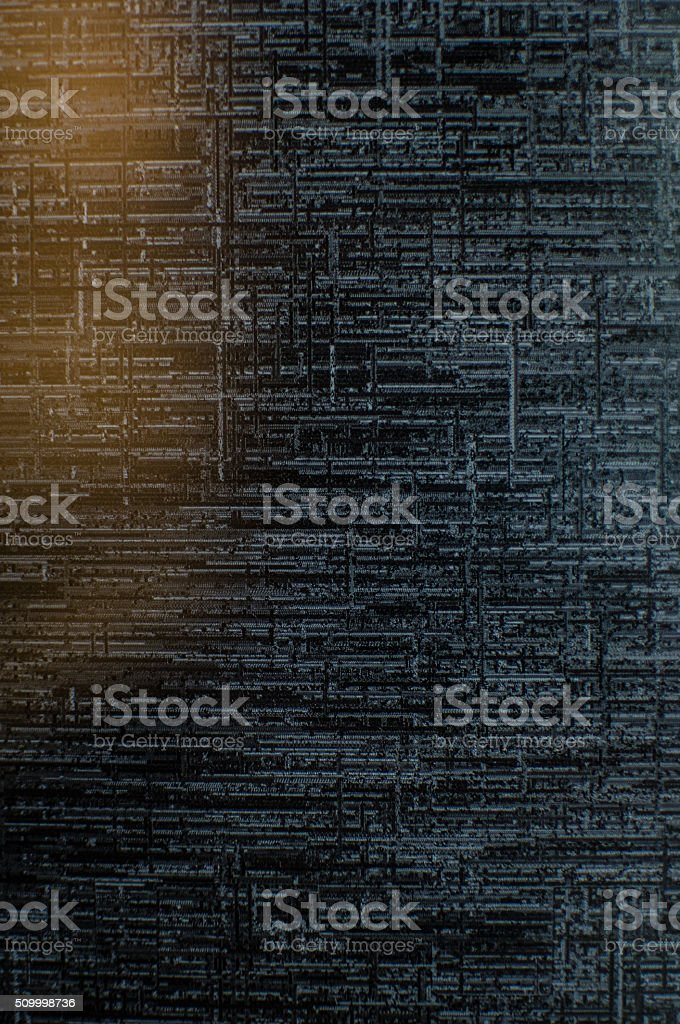 Texture of black brushed metal with gold reflection stock photo