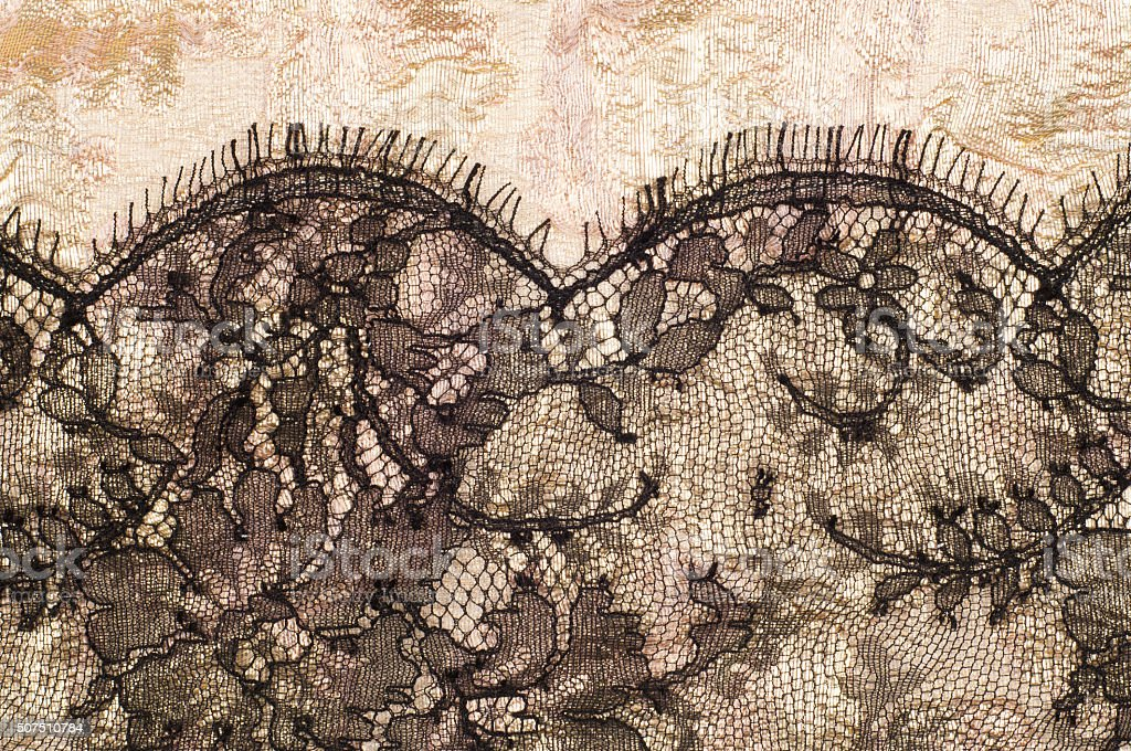texture of brocade embroidered with lace, background, stock photo
