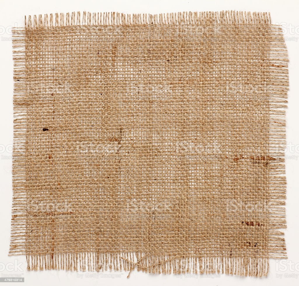 texture of Burlap hessian square with frayed edges stock photo