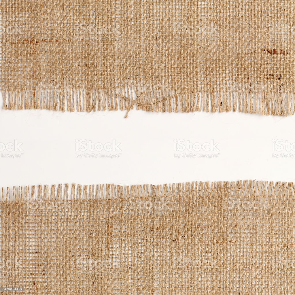 texture of Burlap hessian square with frayed stock photo