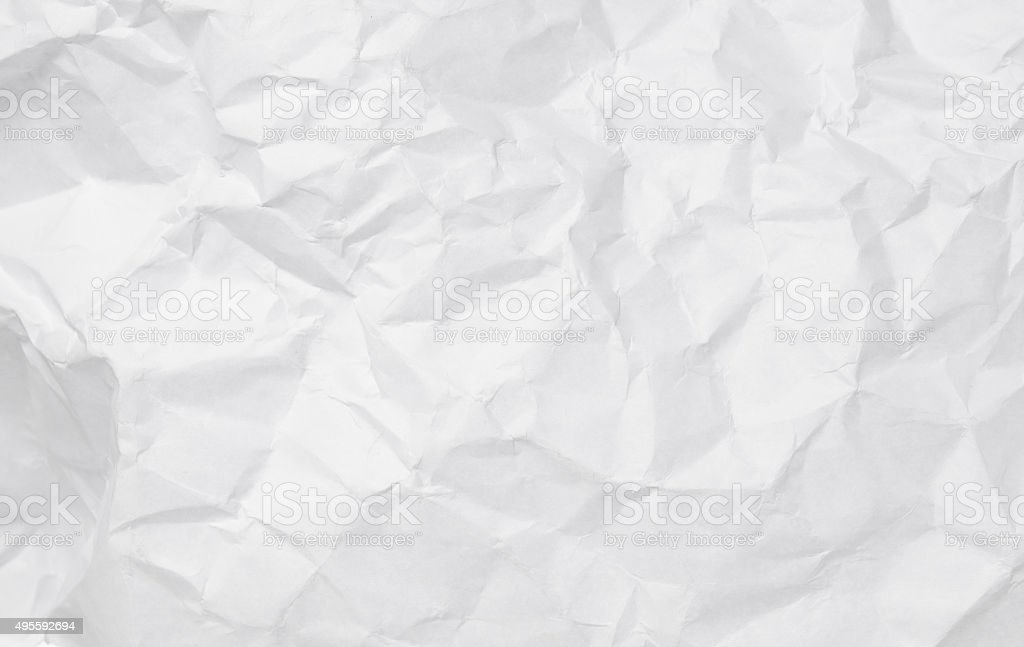 Texture of crumpled white paper. stock photo