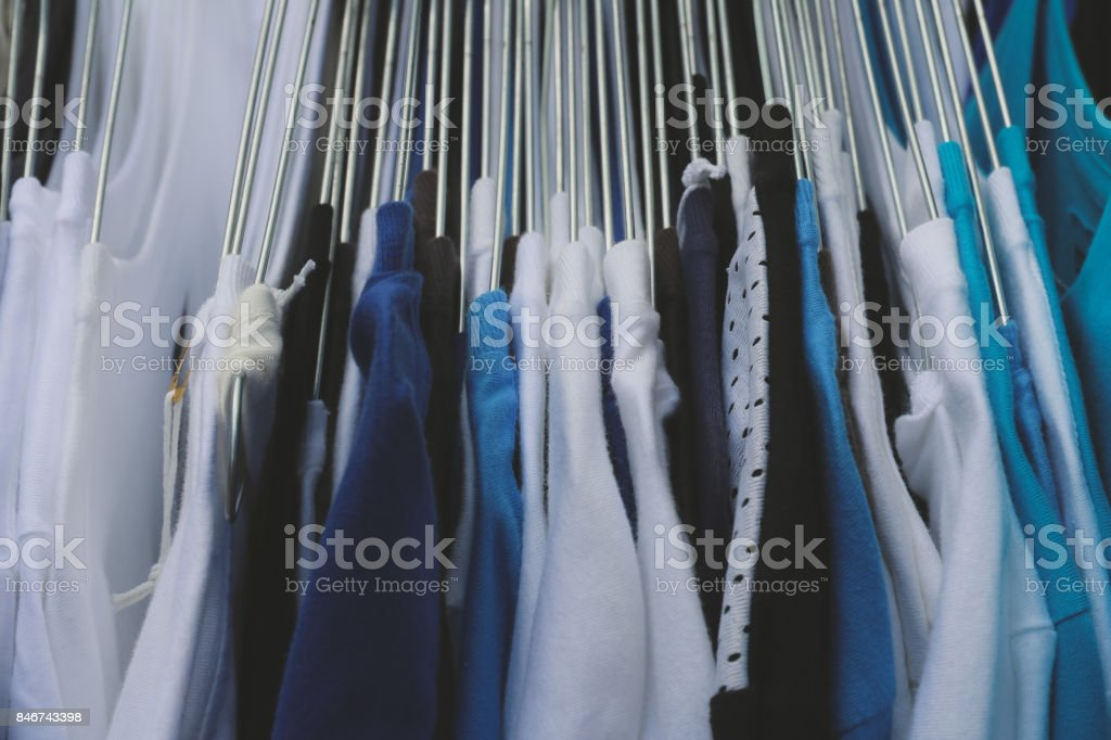 Texture of fabric clothes in the store stock photo