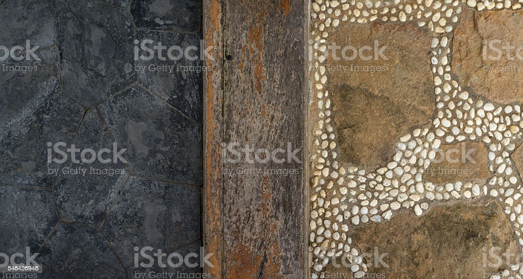 Texture of granite, wooden and stone walkway photo libre de droits