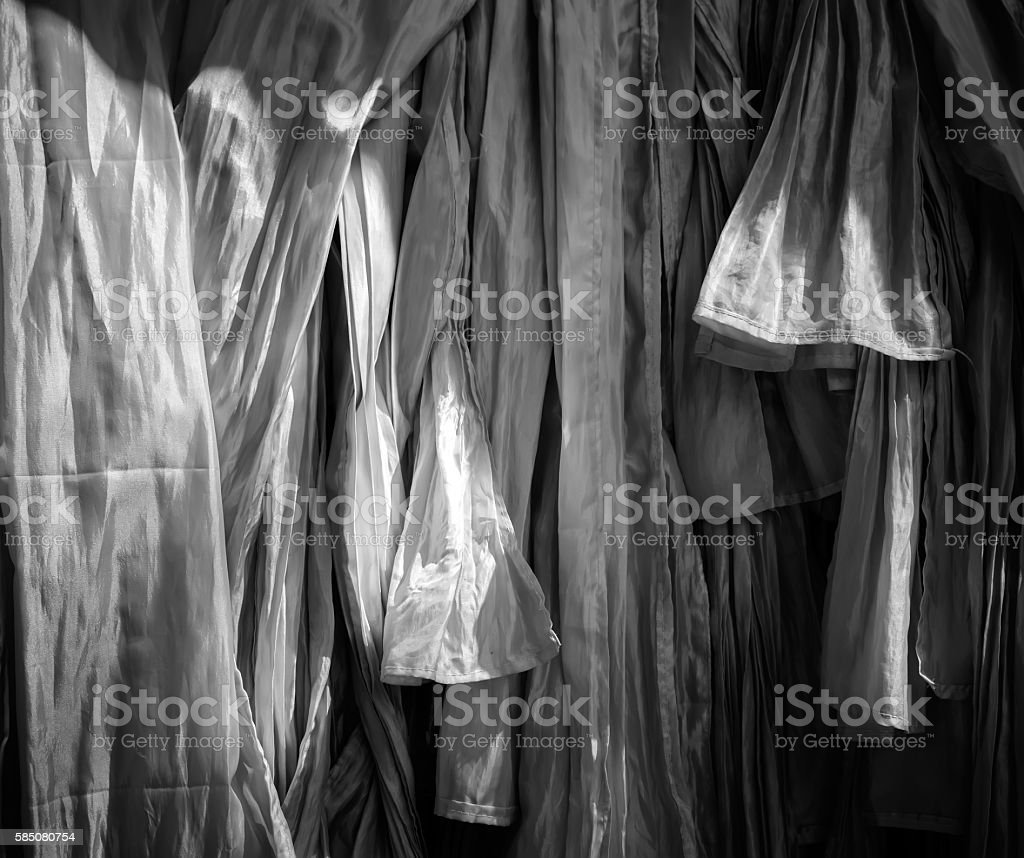 Texture of handmade Thai silk and cotton,black and white stock photo