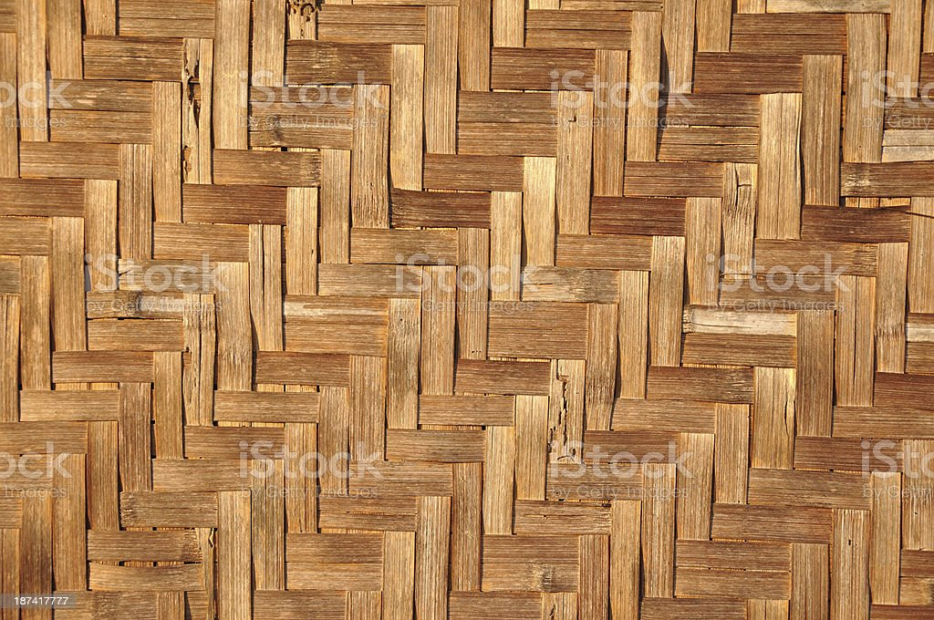 Texture of House wall is made from woven basketwork. royalty-free stock photo