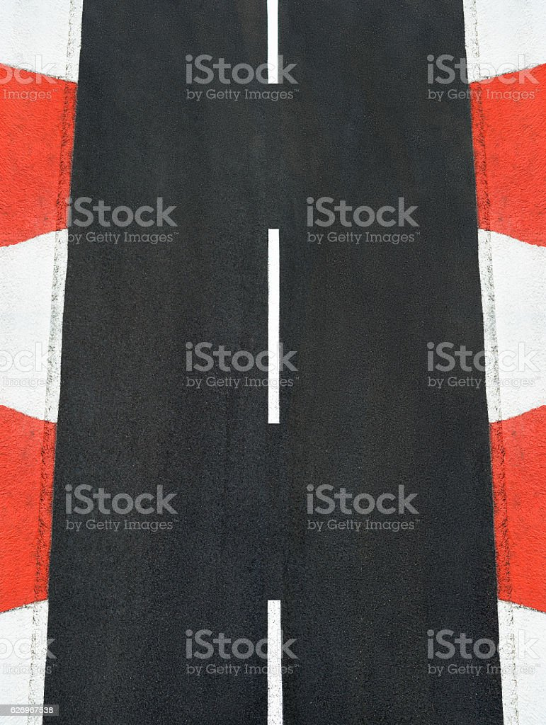Texture of motor race asphalt and curb Grand Prix track stock photo