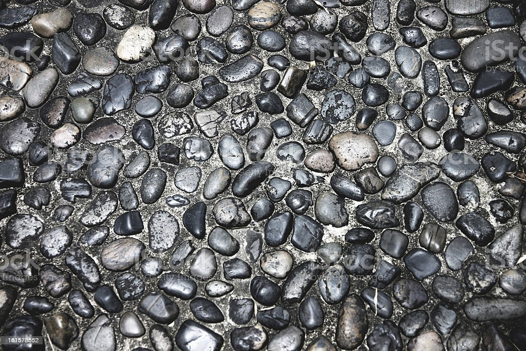 Texture of Pathway made from Black Rock. royalty-free stock photo