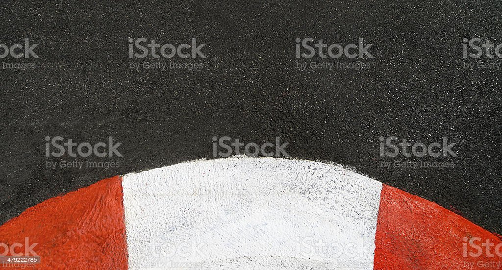 Texture of race asphalt and curved curb Grand Prix circuit stock photo