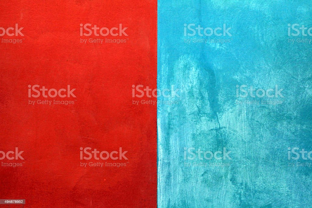texture of red and blue shabby paint plaster stucco background stock photo
