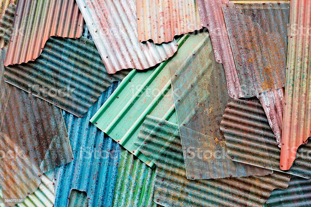 Texture of rusted corrugated metal stock photo