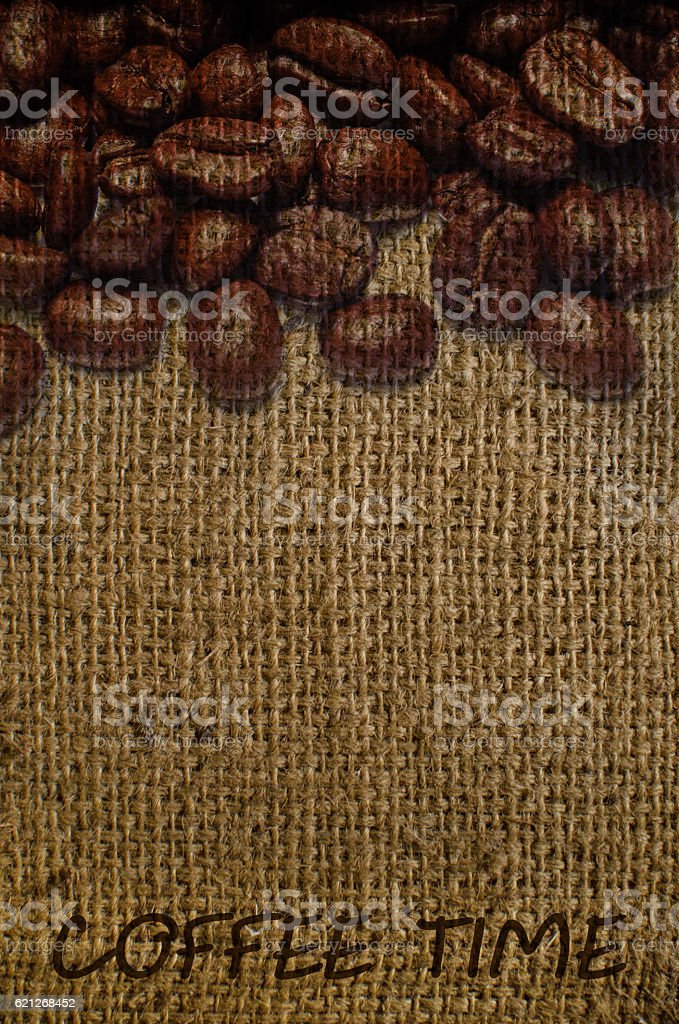 texture of sacking with coffee watermark stock photo